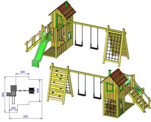 S4 igralni stolp s hiško ROBI, gugalnico in plezalom